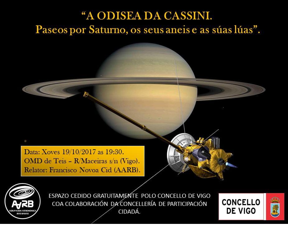"""Charla – Coloquio: """"A ODISEA DA CASSINI; paseos por Saturno, os seus aneis e as súas lúas""""."""