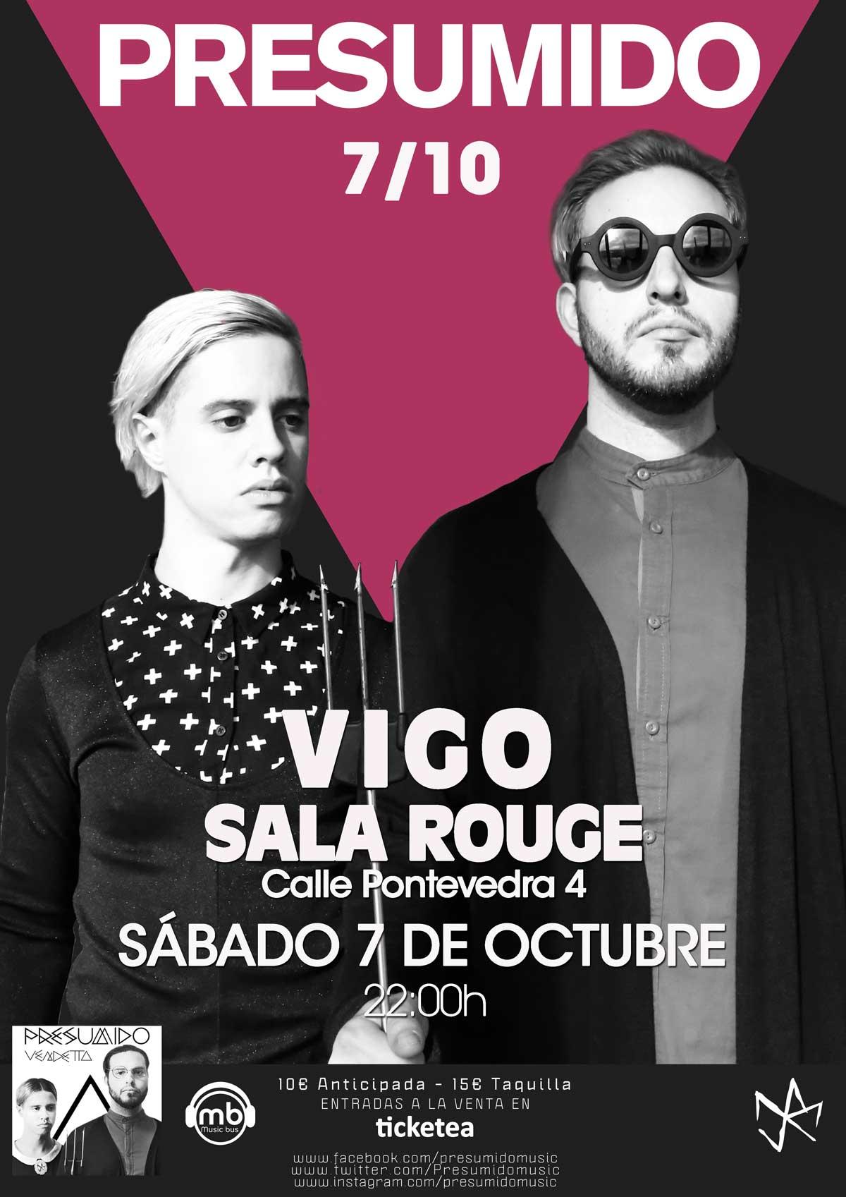 Presumido en concierto en vigo qu hacer en vigo for Sala rouge vigo